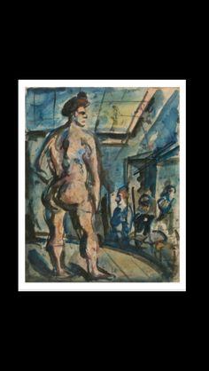 Georges Rouault - Le modèle (ou Le lutteur), c. 1909 - Gouache sur papier vergé contrecollé sur carton - 47 x 37,9 cm - Nantes, Musée des beaux-arts