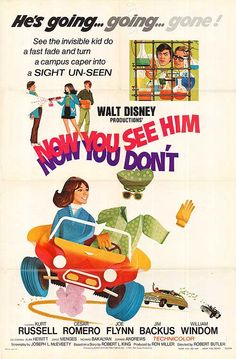 Now You See Him, Now You Don't is a 1972 Walt Disney Productions film starring Kurt Russell Disney Family Movies, Disney Live Action Films, Classic Disney Movies, Disney Movie Posters, Old Movie Posters, Family Movie Night, Action Movies, Film Posters, Walt Disney Pictures