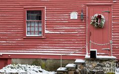 Hooper Street, Marblehead, MA in the snow (1683 red house)