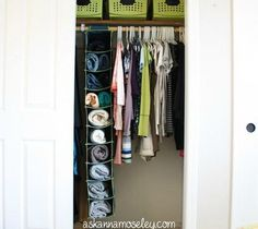 s 16 brilliant ways to squeeze much more into your closet, closet, organizing, storage ideas, Store sweaters in a hanging shoe organizer