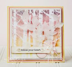 """Michele Kovack: Thoughts of a Cardmaking Scrapbooker! """"Follow Your Heart..."""" - 2-25-14. Heidi Swapp tree stencil, embossing paste; set aside to dry.  Puff up with heat gun after dry.  Replaced stencil; copic colored/ airbrushed."""