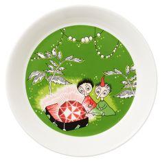 Moomin plate, Thingumy and Bob, green