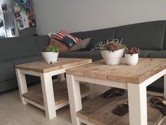 leuke salontafels van steigerhout. Zelf gemaakt.