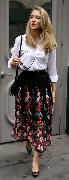 The most versatile midi skirt + the best white button-down // black floral embroidered midi skirt with waist belt, non-iron white button down, black manolo blahnik hangisi pumps, saint laurent shoulder bag, oversized cat eye sunglasses {Maje, ysl, uniqlo,