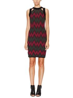 Chevron Knit Cut-Out Sheath Dress