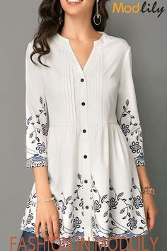 2a686e73549a3f Split Neck Button Front Printed White Blouse On Sale.  29.28. Shop  beautiful blouse at