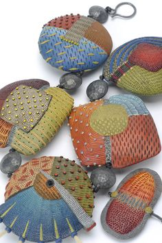 Detail of Tribal Neckpiece by Kathleen Dustin / polymer clay