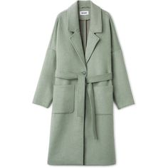 Gry Coat (490 MYR) ❤ liked on Polyvore featuring outerwear, coats, green waist belt, waist belt, wool blend coat, green double breasted coat and wrap coats