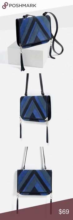 """ZARA 100% Leather Bag with Patchwork Detail Brand new with tags and dust bag. 100% Cow Leather. Lining with interior pocket. Magnet closure. 8.2"""" x 10.6"""" x 1.1"""". Cheaper on Ⓜ️, just ask :) Zara Bags Crossbody Bags"""