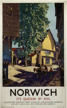Norwich - Horse and Cart Art Print by National Railway Museum at King & McGaw Genre Posters, Posters Uk, Train Posters, Railway Posters, Illustrations And Posters, Horse Posters, Norfolk Coast, Norfolk Broads, British Travel