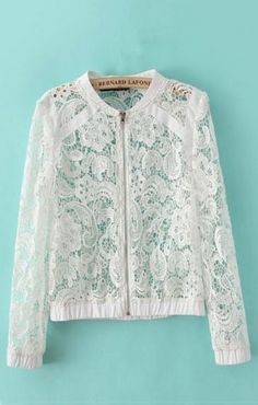 Shop Long Sleeves Lace Coat at ROMWE, discover more fashion styles online. Lace Blazer, Lace Jacket, Lace Shorts, Mesh Jacket, Diy Couture, Lace Tops, Crochet Lace, Dress Patterns, Blouse Designs