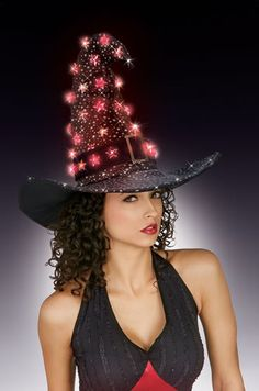 Black Witch Hat with Orange Light Up Stars