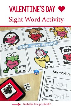 This editable Valentine's Day sight word activity is active and engaging. Print the free printable with your choice of words, and add this cute activity to your February literacy centers or small group lessons. Students will love rolling the dice and stamping hearts next to the words they read.
