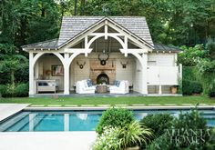 stick style pool house with fireplace Outdoor Areas, Outdoor Rooms, Outdoor Living, Shabby Chic Farmhouse, Modern Farmhouse, Small Pool Houses, Small Farmhouse Plans, Refuge, K2