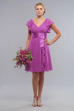 Short Amethyst #Chiffon V-neck Cascade #Bridesmaids Occasion #Dress