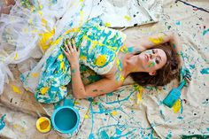 Trash the dress cute with your wedding colors. I think I would take a cheap dress and do this. Not the actual wedding dress.