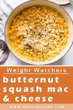 Weight Watchers Butternut Squash Macaroni and Cheese Recipe. A delicious Fall comfort food dinner recipe that's made with low fat milk, salt, elbow macaroni, dijon mustard, ground nutmeg, onion powder, water, frozen pureed butternut squash, reduced fat shredded cheddar cheese, and chopped chives. This one pot meal is quick and easy to make, and is ready in just 25 minutes. MyWW Points: 7 Blue Plan and 7 Green Plan, 7 WW Freestyle Points and 7 Smart Points. Healthy Side Dishes, Side Dish Recipes, Dinner Recipes, Weight Watchers Vegetarian, Weight Watchers Meals, Macaroni N Cheese Recipe, Cheese Recipes, Butternut Squash Mac And Cheese, Green Bean Recipes