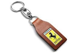 Genuine Ferrari Classic Brown Leather Key Ring 70003777. For product info go to:  https://www.caraccessoriesonlinemarket.com/genuine-ferrari-classic-brown-leather-key-ring-70003777/