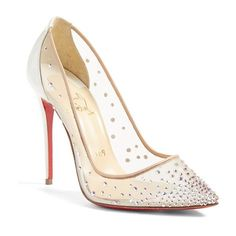 Women's Christian Louboutin 'Follies Strass' Pointy Toe Pump (£940) ❤ liked on Polyvore featuring shoes, pumps, heels, christian louboutin pumps, white, red sole pumps, pointed toe stilettos, heels stilettos and white stilettos