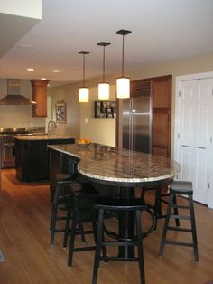 T Shaped Island White Counter Tops With An Eat At Bar