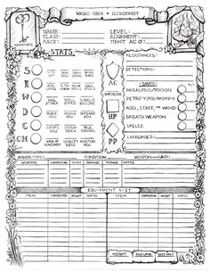 This Official GP Adventures Character Record Sheet is First Edition compatible, and will satisfy all the fans of Advanced-style role-playing games. Heavily inspired by the early record sheets doodl… Character Sheet Template, Dnd Character Sheet, Dungeons And Dragons 5, Dungeons And Dragons Homebrew, Game Design, Book Design, Dragon Rpg, Savage Worlds, Pathfinder Rpg