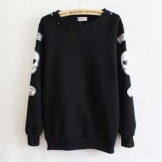 2016 autumn/winter casual sweatshirts for women high quality skull printing decorative rivets pullover sweatshirts 4 colors