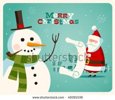 Shutterstock: Christmas card with Santa and Snowman /