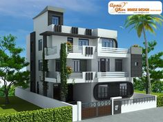 7 bedroom, modern triplex (3 floor) house design. Area: 240 sq mts (12m X 20m). Click on this link (http://www.apnaghar.co.in/pre-design-house-plan-ag-page-63.aspx) to view free floor plans (naksha) and other specifications for this design. You may be asked to signup and login. Website: www.apnaghar.co.in, Toll-Free No.- 1800-102-9440, Email: support@apnaghar.co.in