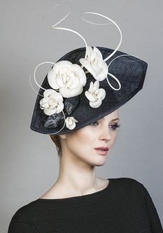 R1673 - Navy fine straw headpiece with white camellias and feather quills