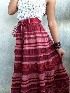 Handmade Winter Cherry Boho Skirt  - autumn, tiered skirt