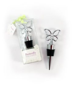 Weddingstar Butterfly Wine Stopper in Gift Packaging by Weddingstar Inc.. $3.60. Includes gift packaging. Sold individually. 1-3/4-inch by 4-1/4-inch high. Use it as a favor or include it in a gift basket or welcome bags!. These bottle stoppers are great for wedding favors. A delicate butterfly sits atop this fashionable wine stopper. Comes gift packaged in a printed box with a graphic floral pattern and includes ribbon and tag. Here is a fresh take on a popular wedding concept...