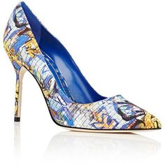 Manolo Blahnik Women's BB Pumps ($695) ❤ liked on Polyvore featuring shoes, pumps, manolo blahnik pumps, blue pumps, slip on shoes, high heel shoes and multi-color pumps #manoloblahnikheelscolour #manoloblahnikheelsblue