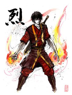 8x10 PRINT Zuko from Avatar Japanese Calligraphy Passion Intensity