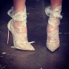 Lacey Loubs with socks for your short wedding dress or reception look? Naughty and nice! christianlouboutin.