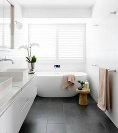 Grey Bathroom Floor, White Bathroom Tiles, Laundry In Bathroom, Modern Bathroom, Family Bathroom, Bathroom Plants, Master Bathroom, Bathroom Ideas White, Dark Grey Bathrooms