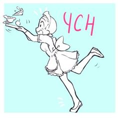 Maid Ych by Drawing Body Poses, Body Reference Drawing, Drawing Reference Poses, Art Drawings Sketches Simple, Cute Drawings, Manga Poses, Poses References, Art Base, Drawing Base