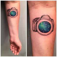Fun little sketchy galaxy camera by Jessica White Reclamare Gallery & Custom Tattoo Sacramento, Ca.