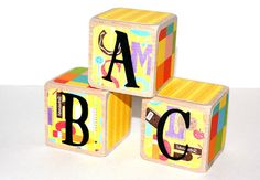 ABC Children's Wooden Blocks  Alphabet Blocks  by Booksonblocks, $18.99