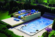 LOVE the idea of sliding cover. Hydropool Aqua Sport Swim Spa. www.hydropoolmanchester.co.uk