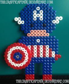 Captain America with shield perler beads by TheCraftyCaptain