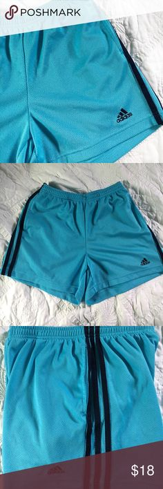 Adidas Blue Shorts Excellent condition, no signs of wear | had these shorts for awhile but never really got use out of it | side pockets | elastic waistband with drawstring | bright blue with navy blue stripes adidas Shorts