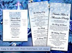 printable program template instant download winter wedding program