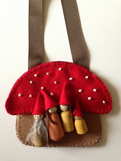 A gnome home.  Mushroom Purse home on Knitionary blog.