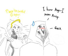 """paladinsmokey:  """" MercyXReaper or Mercykill  I like to think Reaper used to and still has a big crush on Mercy. Since Mercy doesn't know who reaper is Reaper has to have a secret Identity in order not to disapoint Mercy. (He's also tsundere af.)  """""""