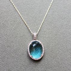 Sterling Silver Aquamarine Necklace Round by LibertaFashion, $24.00