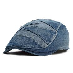 b78659952cf Mens Summer Vintage Denim Cowboy Cap Fitted Driving Beret Buckle Flat Caps  Adjustable is hot sale on Newchic.