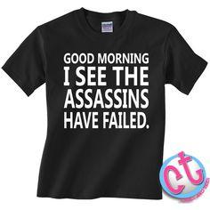Funny Assassins T-Shirt Women Mens Boyfriend Girlfriend Youth Kids T... (€13) ❤ liked on Polyvore featuring tops, t-shirts, shirts, men, black, women's clothing, print top, tee-shirt, boyfriend tank top and boyfriend t shirt