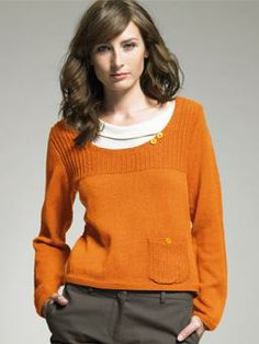 Chrissie pullover, free pattern for Wool Cotton 4 ply by Sarah Hatton from Rowan.