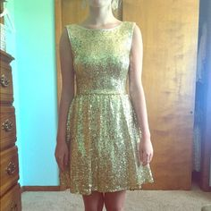 Homecoming dress Beautiful, gold sequin dress that catches the light when you move. Worn once. Dresses Prom
