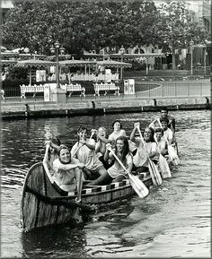 Disneyland Cast Members Rowing in the Annual Canoe Races in Frontierland